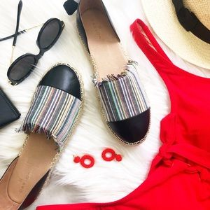 Striped Toe Cap Ankle Tie Espadrilles